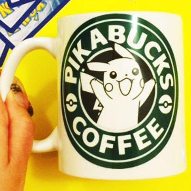 Pikabucks Coffee Mug   Pikachu Pokemon Starbucks   Anime Gaming