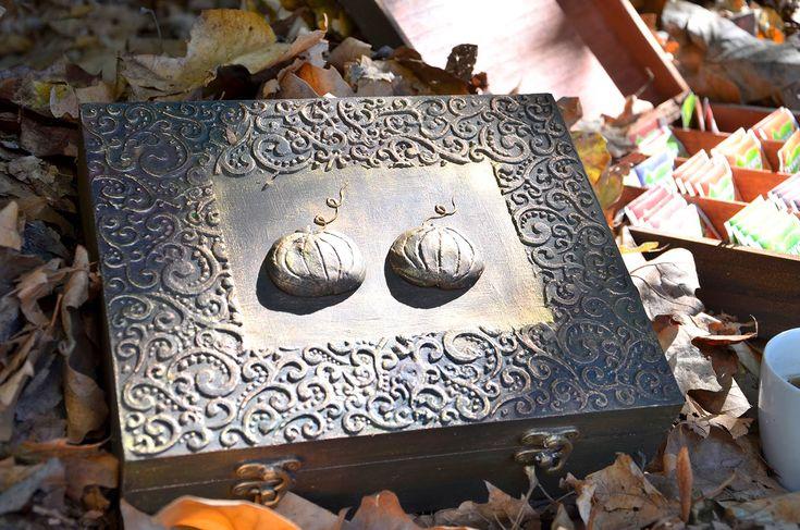 Teásdoboz tökökkel // Tea holder box with pumpkins
