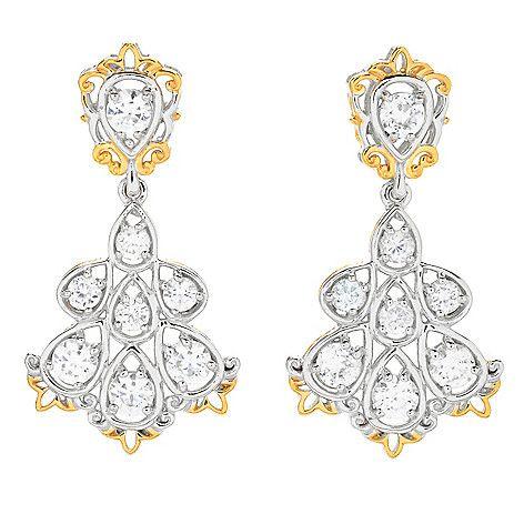 """160-969 - Gems en Vogue 1.5"""" 4.56ctw White Zircon Cluster Dangle Earrings"""