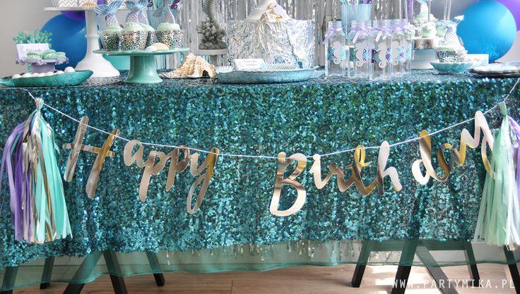 Urodziny Małej Syrenki Mermaid Party Girlandy z napisem happy birthday mamy jeszcze złote!