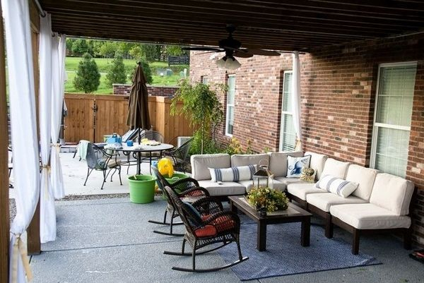 curtains brick sitting area seat cushion cushion beige rocking chairs of wood pergolas roofing