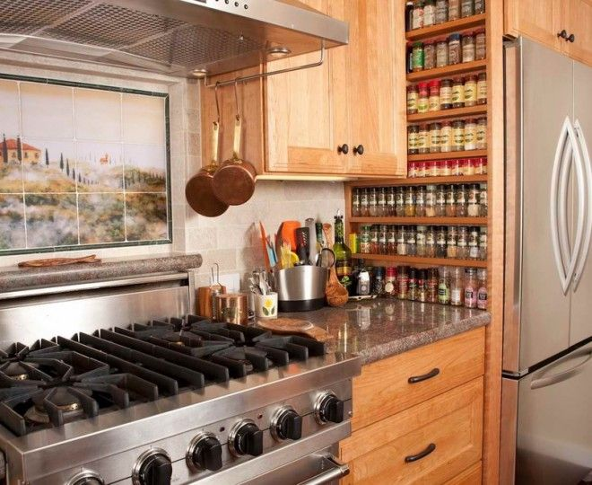 Cool wall mounted spice rack in Kitchen Transitional with Wall ...