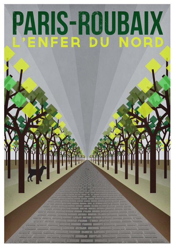 "Cycling Art Print - Paris-Roubaix (Size A3, 16.5"""" x 11.5"")"