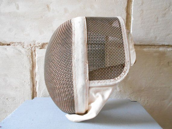 Vintage French fencing helmet, face shield, white fencing mask. Man cave decor.
