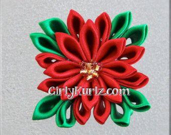 Escultura de cinta flor de Pascua Navidad flor por YayaAccessories
