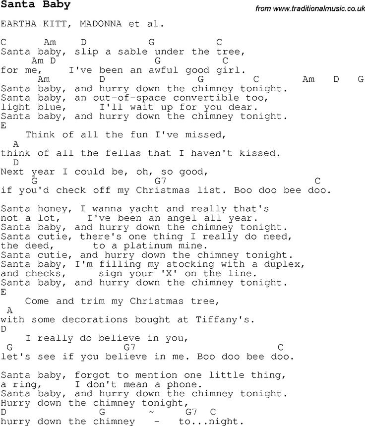 Christmas Songs and Carols, lyrics with chords for guitar banjo for Santa Baby