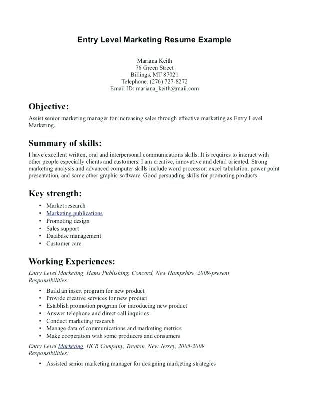 The 3185 best Resume Templates images on Pinterest Cv format - entry level marketing resume samples