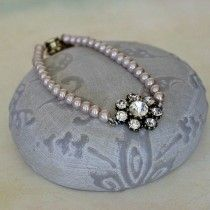 One Row Pink Glass Pearl and diamante Bracelet