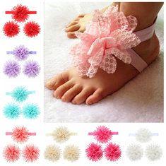 #Banggood 3шт набор кружева цветок Hairband мягкие аксессуары упругие одежда босиком художественные ноги Девочки оголовьем (1037367) #SuperDeals