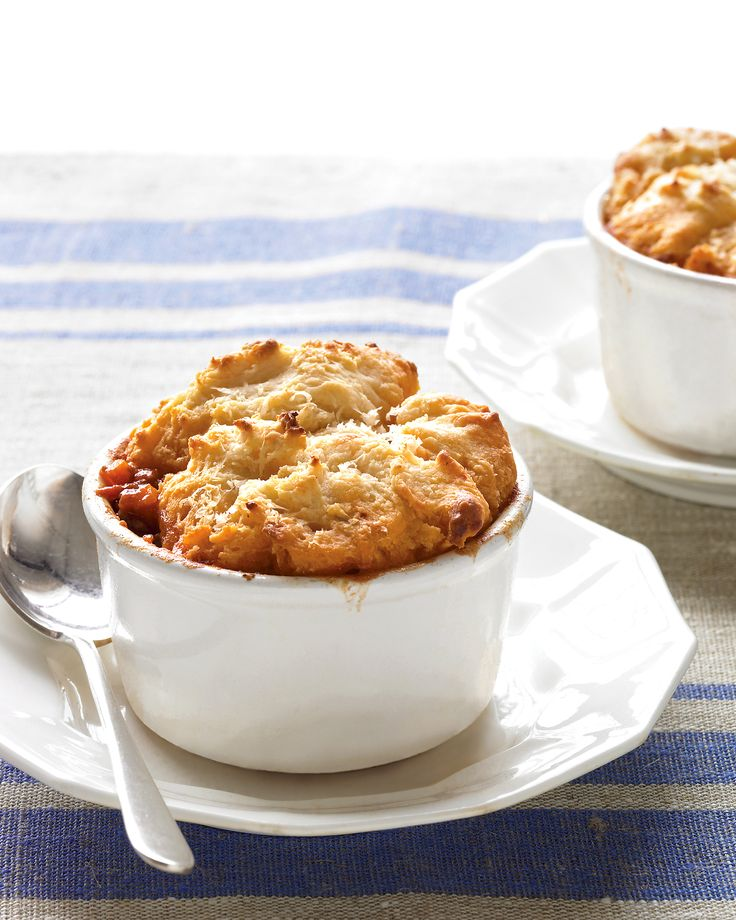 Italian Potpies  Keep ground beef and homemade tomato sauce in your freezer for a biscuit-topped Italian rendition of shepherd's pie.