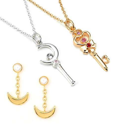 """sailor moon"" ""sailor moon merchandise"" ""sailor moon jewelry"" ""sailor moon 2013"" gold silver necklace crescent moon wand time key crystal earrings anime japan bandai"
