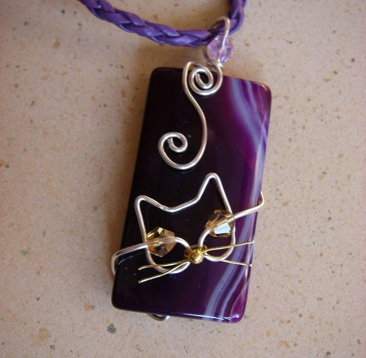 Unique Silver Wire Cat on Purple Agate Pendant by jillmh123, $12.50