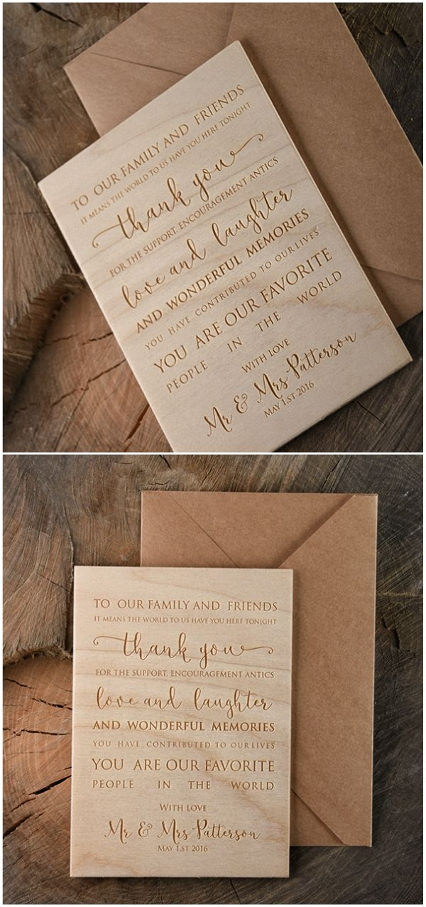 wedding custom thank you cards%0A Wooden wedding Thank You card  thankyou  rustic