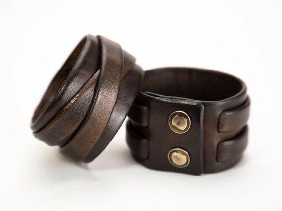 Mens Leather Cuff Bracelet Wide Cuffs Modern