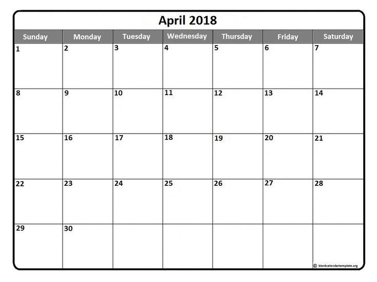 April 2018  printable calendar template