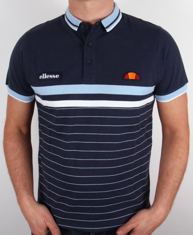 Ellesse Argentiere Polo Shirt in Navy,heritage, striped polo shirt