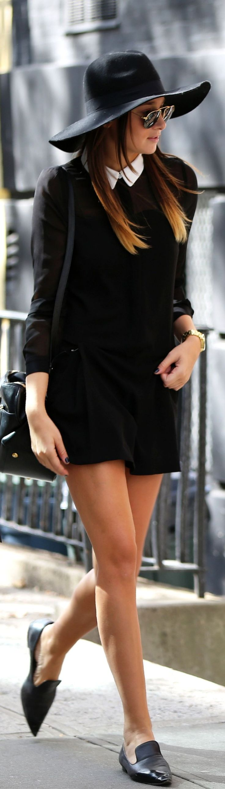 black dress, white peter pan collar, flats, floppy hat