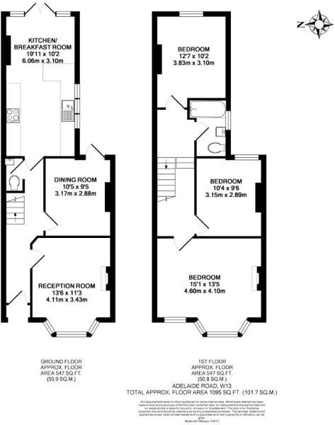 Terrace house plan - SECOND TOILET IS UNDER THE STAIRS ON GROUND FLOOR