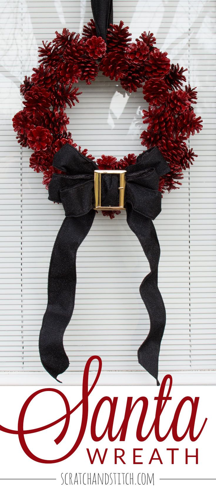 Welcome holiday visitors with this santa wreath made with pine cones, red spray paint, black ribbon, and a belt buckle. By scratchandstitch.com