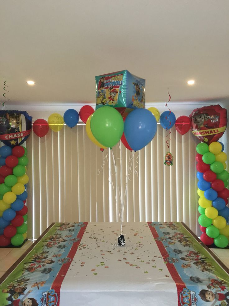 Paw Patrol Party Balloon Arch we did for our sons 5th Birthday