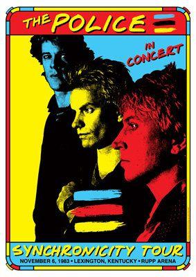 police concert posters   ... 1983 Lexington Kentucky , Rupp Arena - retro artistic concert poster