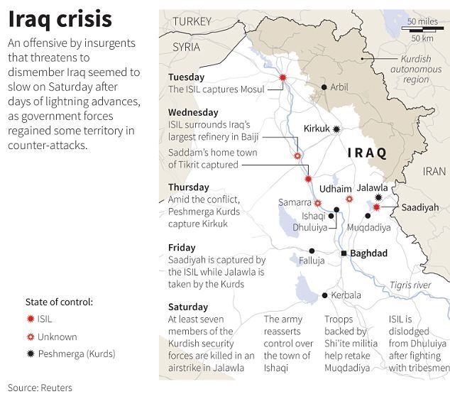 """The Crisis In Iraq"" - A map of northern Iraq shows the towns and cities taken over by Sunni insurgents & Kurdish Peshmerga"