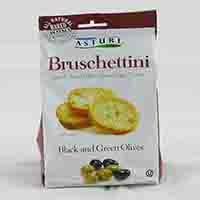 Snack size Italian bruschetta toasts are baked using unbleached flour and the highest quality extra virgin olive oil. Contains black and green olives. From Italy.