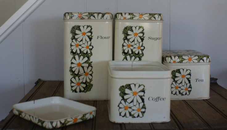 Vintage Metal Daisy Canister Set By By