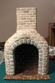 how to: cover in glue, air-drying clay, and use a dirty wash to color the bricks