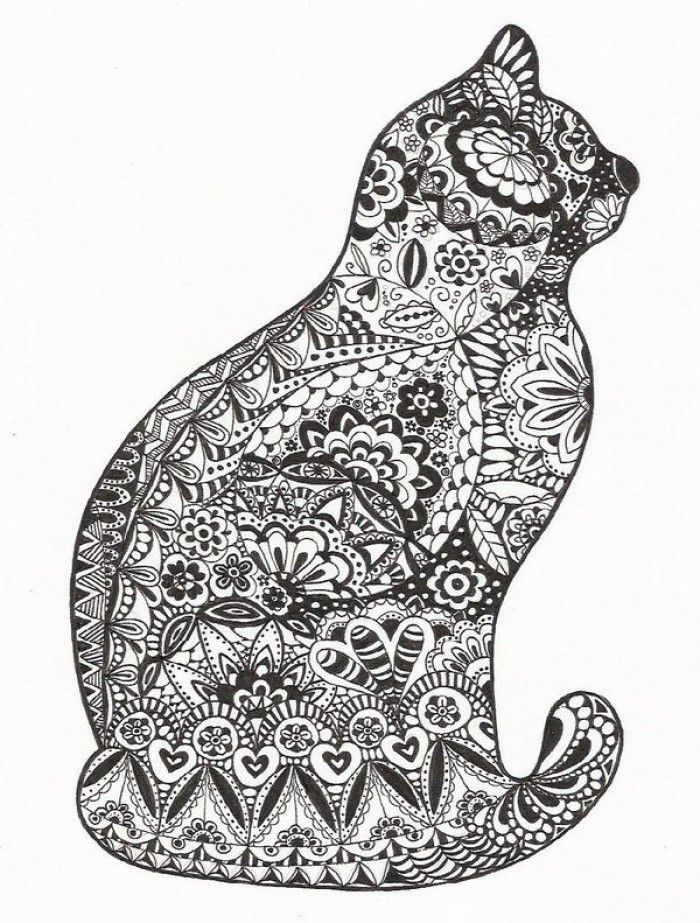 zentangle cat Cats Dogs Colouring Pages Zentangles