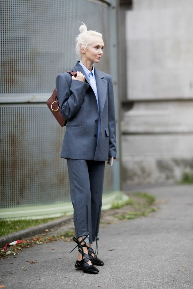 Paris Fashion Week SS17 Street Style: Day 3 Suit and ballerina