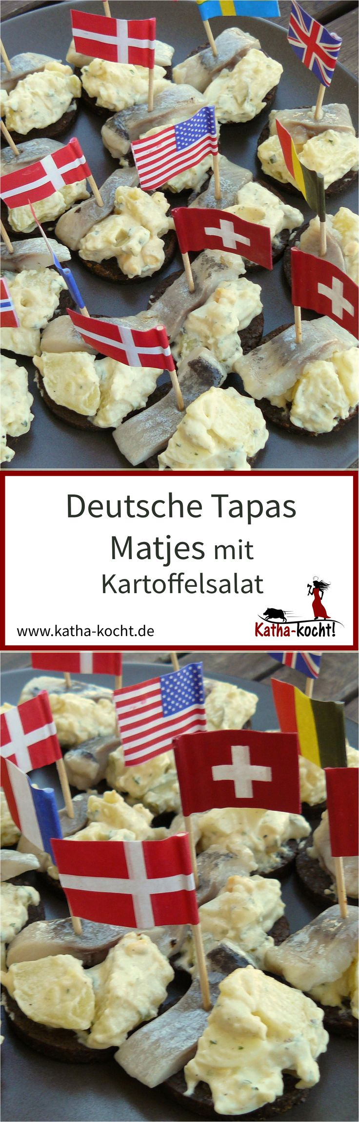 Matjes und Kartoffelsalat ist eine Kombination die immer beliebt ist - auf kleinen Schnittchen werden daraus super unkomplizierte deutsche Tapas für eure nächste Party. Das Rezept für die kleinen Häppchen gibt es auf katha-kocht!
