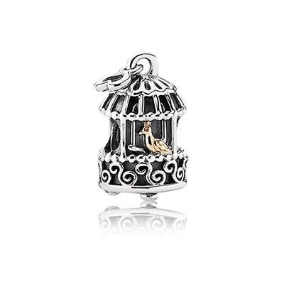 http://mitchumjewelers.com/fine-jewelry/pandora-jewelry-springfield-mo - A golden bird in a silver cage - Songbird charm in sterling silver and 14k gold - $65 - Available at Mitchum Jewelers