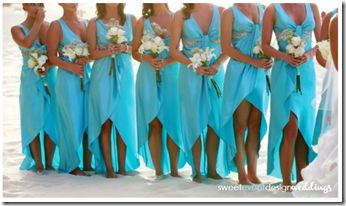 Turquoise aqua blue bridesmaid dresses with the high-low hemline trend! These are PERFECT for a formal ceremony and one hell of a reception party!