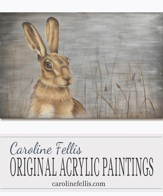 Hare in grass Rabbit Jackrabbit Acrylic Painting Original Art