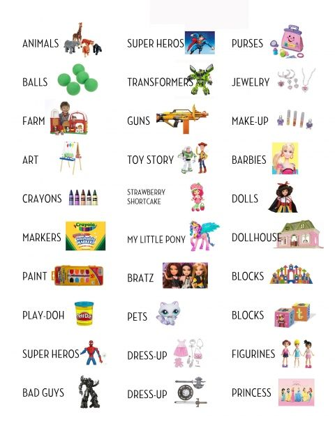 Printable labels for toy organization