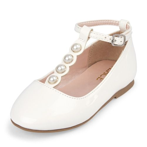 d383fecf307 Toddler Girls Faux Pearl T Strap Ballet Flats | flower girl options ...