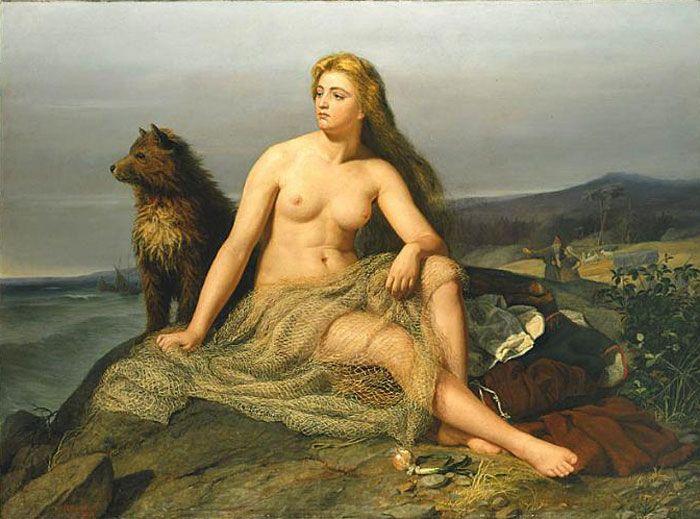 Aslaug, Aslög, Kraka, Kráka or Randalin, was a queen of Scandinavian mythology who appears in Snorri's Edda, the Völsunga saga and the saga of Ragnar Lodbrok. (Artwork from 1862 by Mårten Eskil Winge)