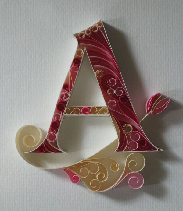 """Want this for my little """"A""""s <3 so beautiful!Paper Quilling, Ideas, Paper Letters, Adonai Karnik, Paper Art, Alphabet, Typography Art, Paper Crafts, Quilling Letters"""
