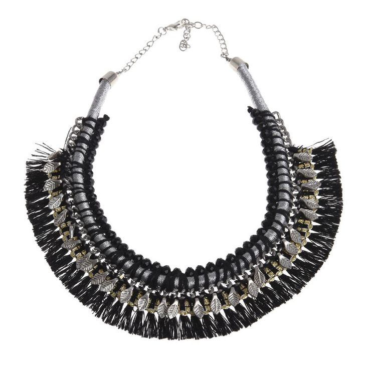 BLACK NECKLACE WITH BEADS AND TASSELS - Jewelery