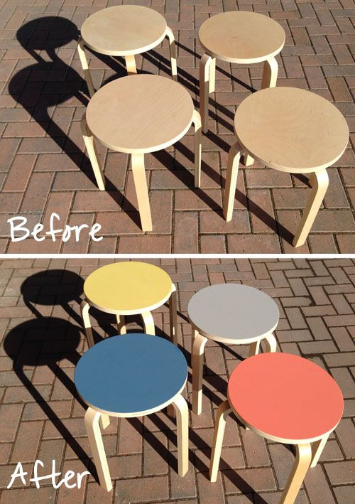On the blog: Ikea Frosta stool update with @<< <> >> moderns paint in mid-century colours, inspired by Alvar Aalto's stool 60