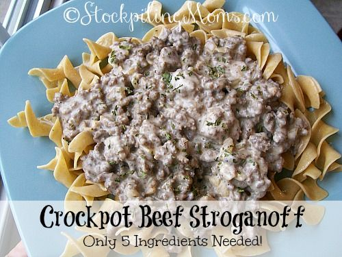 Crockpot Beef Stroganoff is an easy recipe and only need 5 ingredients! #easy #slowcooker