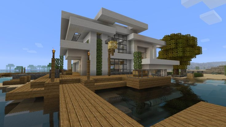 Modern House on the Water in Minecraft