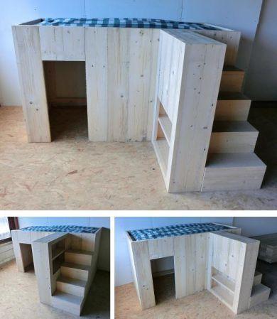 STOERE halfhoogslaper met speelhut/trap/kast steigerhout