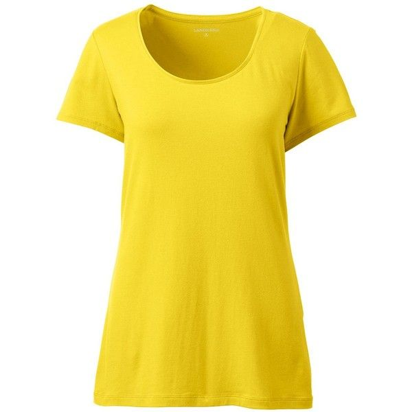 Lands' End Women's Petite Shaped Layering Scoopneck T-shirt ($20) ❤ liked on Polyvore featuring tops, t-shirts, yellow, scoop t shirt, layered t shirt, petite t shirts, scoop-neck tees and petite tee