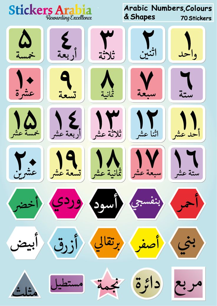 70 colourful Arabic Alphabet stickers, perfect for helping children recognise the Arabic numbers,colours and shapes. The stickers can be used to make flashcards and worksheets.