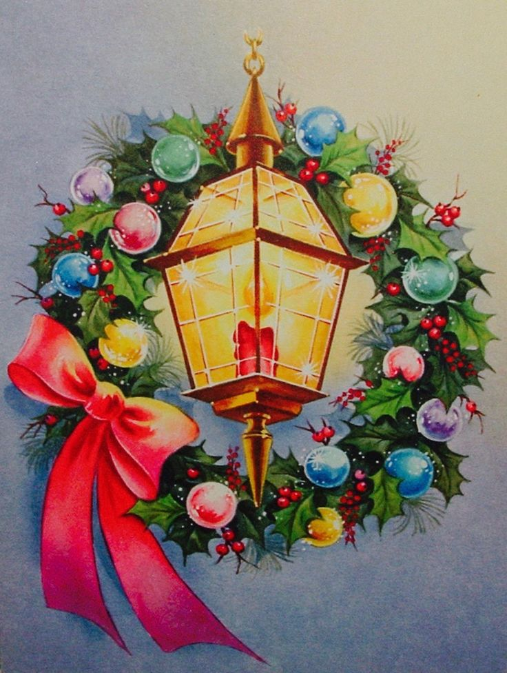 Christmas wreath & lantern. Vintage Christmas Card. Retro Christmas Card.