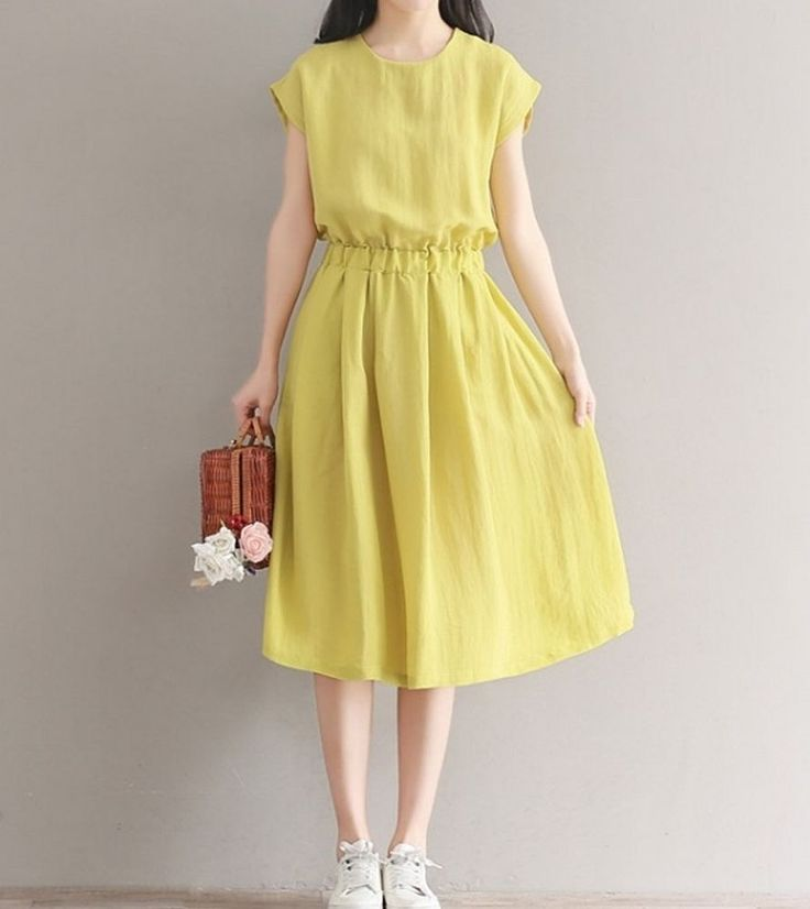 Women loose fit over plus size elastic waist dress tunic fashion casual chic #Unbranded #dress #Casual