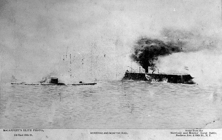 USS Monitor on the left approaches broadside to the CSS Virginia.Check it out!
