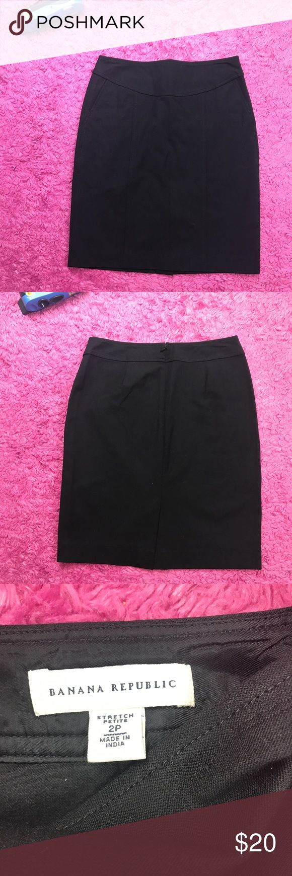 "Banana Republic Black Pencil Skirt Size 2 Petite Banana Republic Pencil Skirt Womens Petite Black Stretch Career Work Size 2 2P  Type: Skirt Style: Petite Pencil Skirt Brand: Banana REpublic Material: 56% Viscose 39% Cotton 5% Spandex Color: Black Measurements: Waist: 28"" Flat – Length: 20 Condition: Used- no rips, no stains or no peeling Country of Manufacturer: India Banana Republic Skirts Pencil"